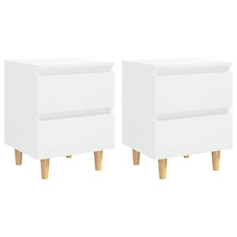 vidaXL nattbord 2 stk. med furu tre ben høyglans hvit