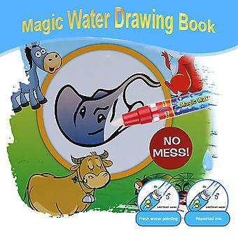 Non-toxic Magic Water Drawing Book Coloring Book Doodle With Magic Pen Animals Painting No