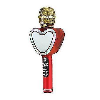 Sydämen muoto langaton bluetooth karaoke mikrofoni,4 in 1 led valot ktv (Punainen)