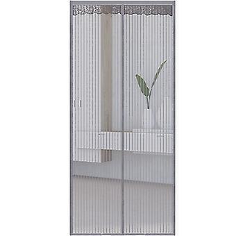 Zanzariera per porta con chiusura magnetica 100 x 210 cm Grigio