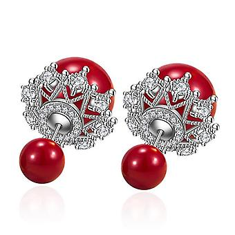 2PCS Silver plating Woman Fashion Jewelry Simple Red Round Crown Earrings