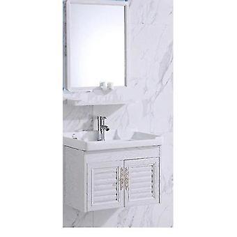 Mini Wall Mounted Basin & Cabinet Ceramic Washing Table Small Space Aluminum