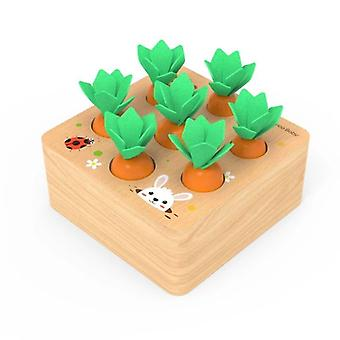 Wooden Toys Baby Toys Set Pulling Carrot Shape Matching Size Cognition  Wooden Baby 