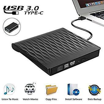 USB 3.0 DVD-enhet bärbar ultratunn CD DVD-brännare med TYPE-C-adapter