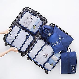 7 Ensemble de bagages emballant des cubes et des pochettes d'organisateur de voyage (Marine)
