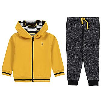 SoulCal Boys 3 Piece Jog Set Infant Zip Fly Hoody Trousers Ribbed Top Bottom