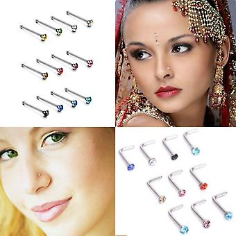 Nose Nail L-shaped 60 Pieces 1.8 Mm Stainless Steel Diamond Piercing Jewelry
