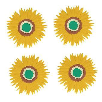 Anti-Verbrühungs-Wärmedämmkissen, wasserdichte Tischmatte, Untersetzer, Haushaltsgeschirrmatte, Sonnenblumen-Tischset, Schüsselmatte (4 Stück)