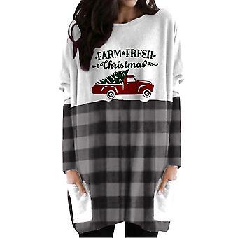 kvinners jul plaid langermet topper uformell t-skjorte bluse pullover lommer