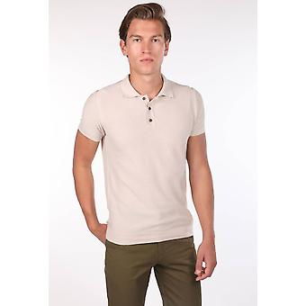 Polo Neck Strikkevarer Beige T-skjorte for menn