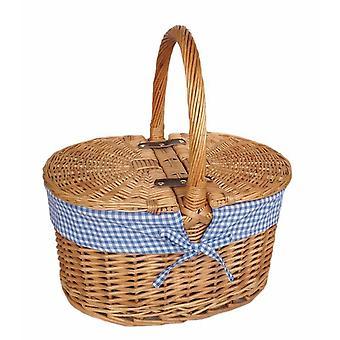 Mavi Çek Astarı Oval Piknik Sepeti