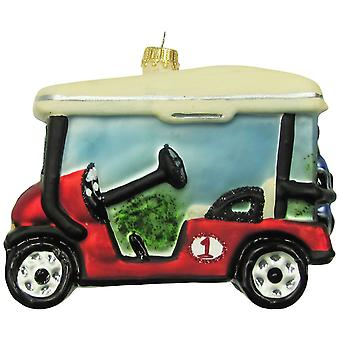 Golfer Clubs and Caddy Golf Cart Glass Holiday Ornament