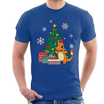 تي شيرت للرجال البوكيمون Charmander شجرة عيد الميلاد