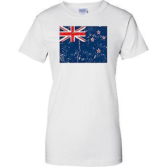 Nya Zeeland nödställda Grunge effekt flaggan Design - damer T Shirt