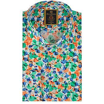 Oscar Banks Multicoloured Blot Print Mens Shirt