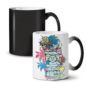 Old Aztec Art Vintage NEW Black Colour Changing Tea Coffee Ceramic Mug 11 oz | Wellcoda