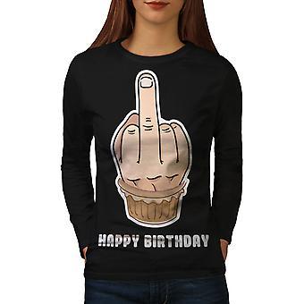 Happy Funny Cake Women BlackLong Sleeve T-shirt | Wellcoda