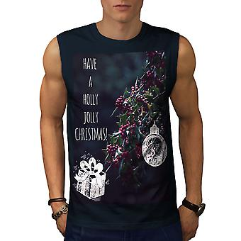 Holly Jolly NavySleeveless t-paita | Wellcoda
