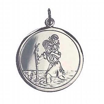9ct witgoud 25mm ronde St Christopher Pendant