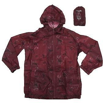 Proclimate Childrens Girls Tartan Deer Pattern Waterproof Packable Cagoule Jacket With Packaway Bag
