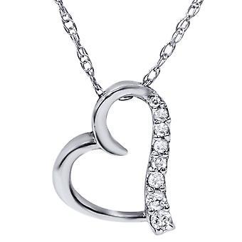 Oro bianco con diamanti cuore forma ciondolo 10K