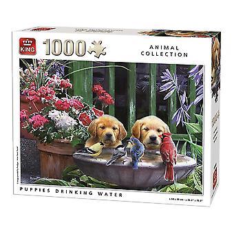 水のジグソー パズルを飲む王子犬パズル (1000 ピース)