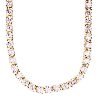 Iced Out Bling CZ STONE 8mm ROW stainless steel chain - gold 60cm