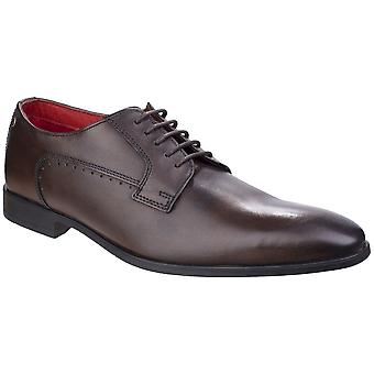Base London Mens Penny Washed Lace Up Smart Leather Oxford Dress Shoes