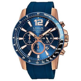 Lorus Mens Blue Silicone Strap Rose Gold RT392EX9 Watch