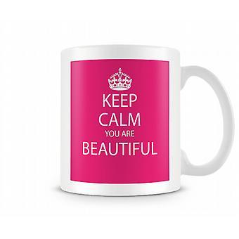 Blijf kalm You Are Beautiful Gedrukte Mok