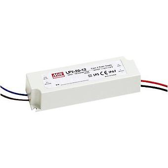 Mean Well LPV-20-24 LED transformer Constant voltage 20 W 0 - 0.84 A 24 V DC not dimmable, Surge protection