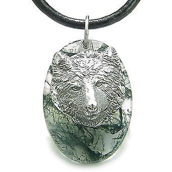 Amulett Schutz Wise Wolf Glück Kräfte grünes Moos Achat Charm Anhänger Halskette