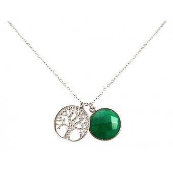 Ladies - - pendant - tree of life necklace - 925 Silver - emerald - green - 45 cm