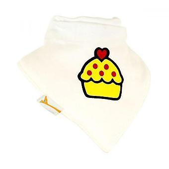 Weiße & gelbe Cupcake Bandana Lätzchen