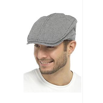 Mens Check Flat Cap Summer Fashion Hat 100% Cotton