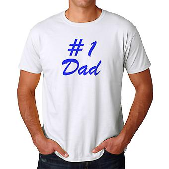 Father #1 Dad Graphic Men's White T-shirt