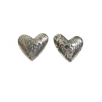 Cavendish French Oxidised Sterling Silver Asymmetrical Heart Stud Earrings