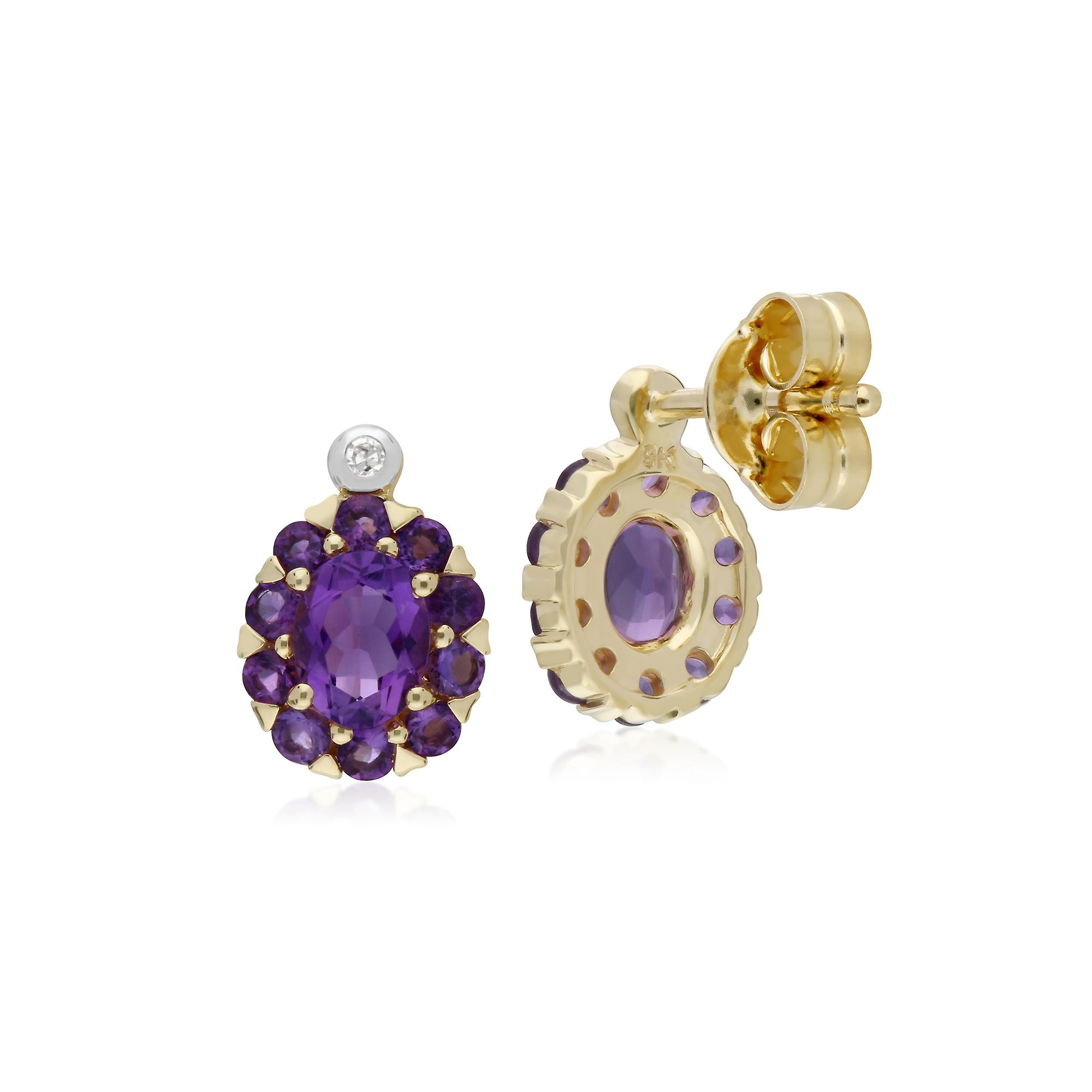 Gemondo 9ct Yellow Gold Amethyst & Diamond Oval Cluster Stud Earrings