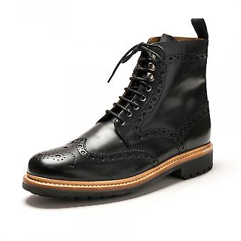 Grenson Grenson Fred Black Calf Mens Brogue Boot