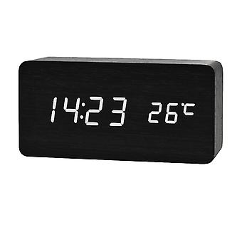 Digital LED Alarm Clock in wood design-black/white