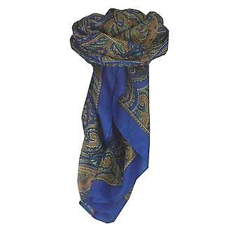 Moerbei zijde traditionele vierkante sjaal Shimla Blue door Pashmina & Silk