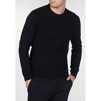 Merc MUSWELL, men's cotton cable knit jumper with round neck, ribbed collar and cuffs