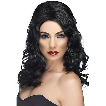 Long Black Wavy Wig, Glamorous Wig, Fancy Dress Accessory.