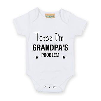 Today I'm Grandpa's Problem White Short Sleeve Baby Grow