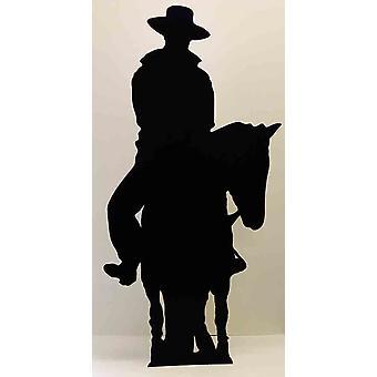 Cowboy te paard (silhouet) (Western thema) - Lifesize karton gestanst / Standee