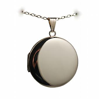 9ct Gold 29mm plain round Locket with a belcher Chain 24 inches