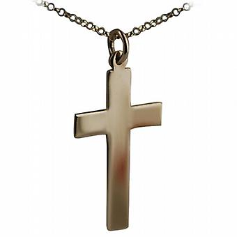 9ct Gold 34x19mm plain flat latin Cross with belcher Chain 24 inches