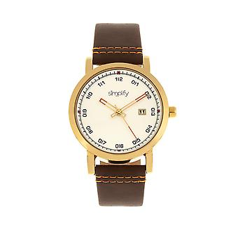 Simplify The 5300 Strap Watch - Gold/Brown