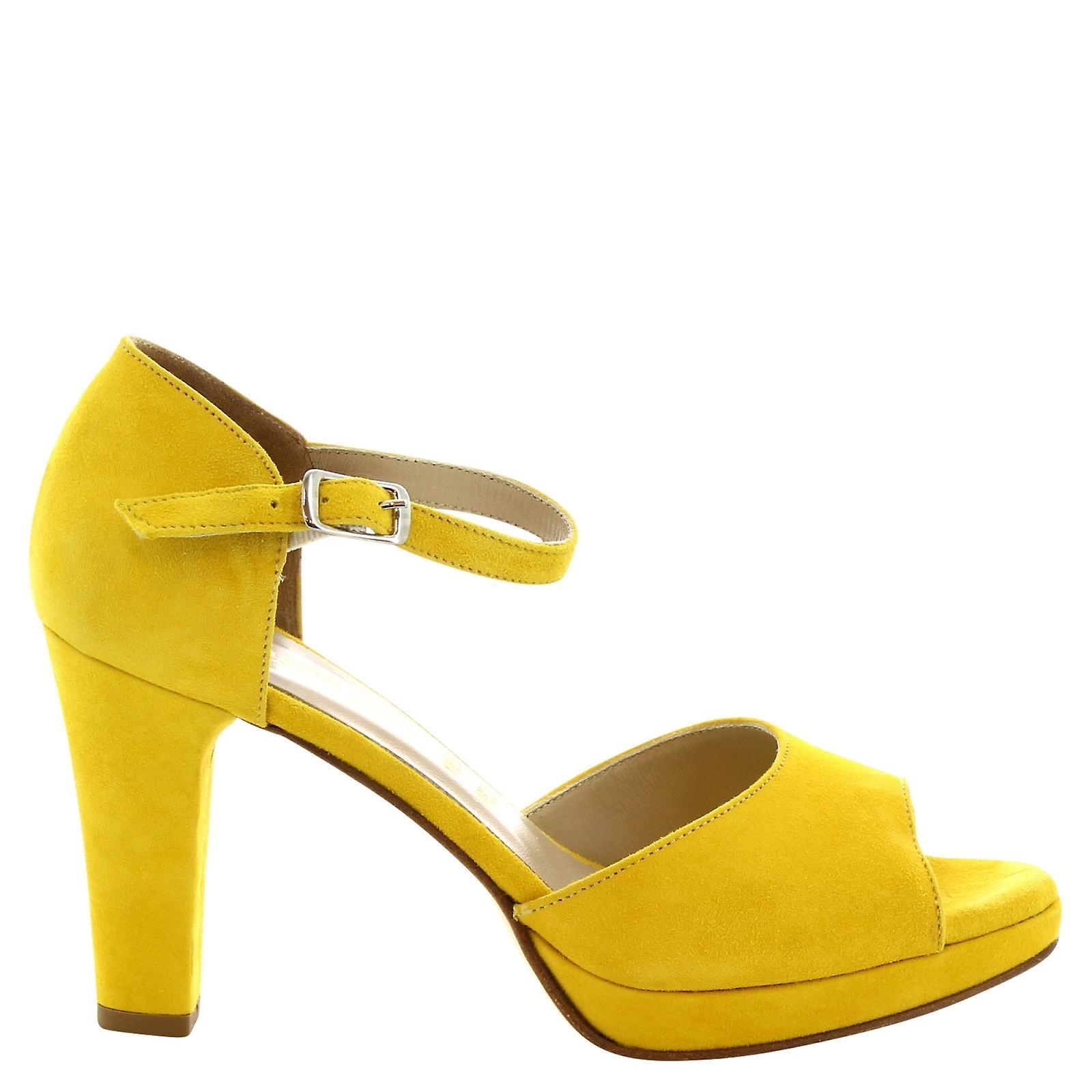 Fatto a mano giallo camoscio tacchi alti sandali Leonardo scarpe donna
