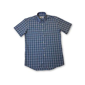 Ingram shirt in contrast blues tartan pattern